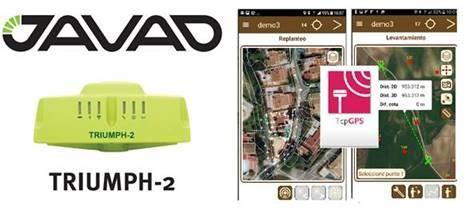 TcpGPS Android pour les levés et les implantations avec le récepteur GNSS Javad Triumph 2